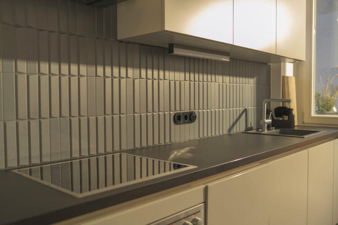 Large Size of Küchenwand Innovatives Design Matte 3d Kchenwand Fliesen In Dunkelgrau Wohnzimmer Küchenwand