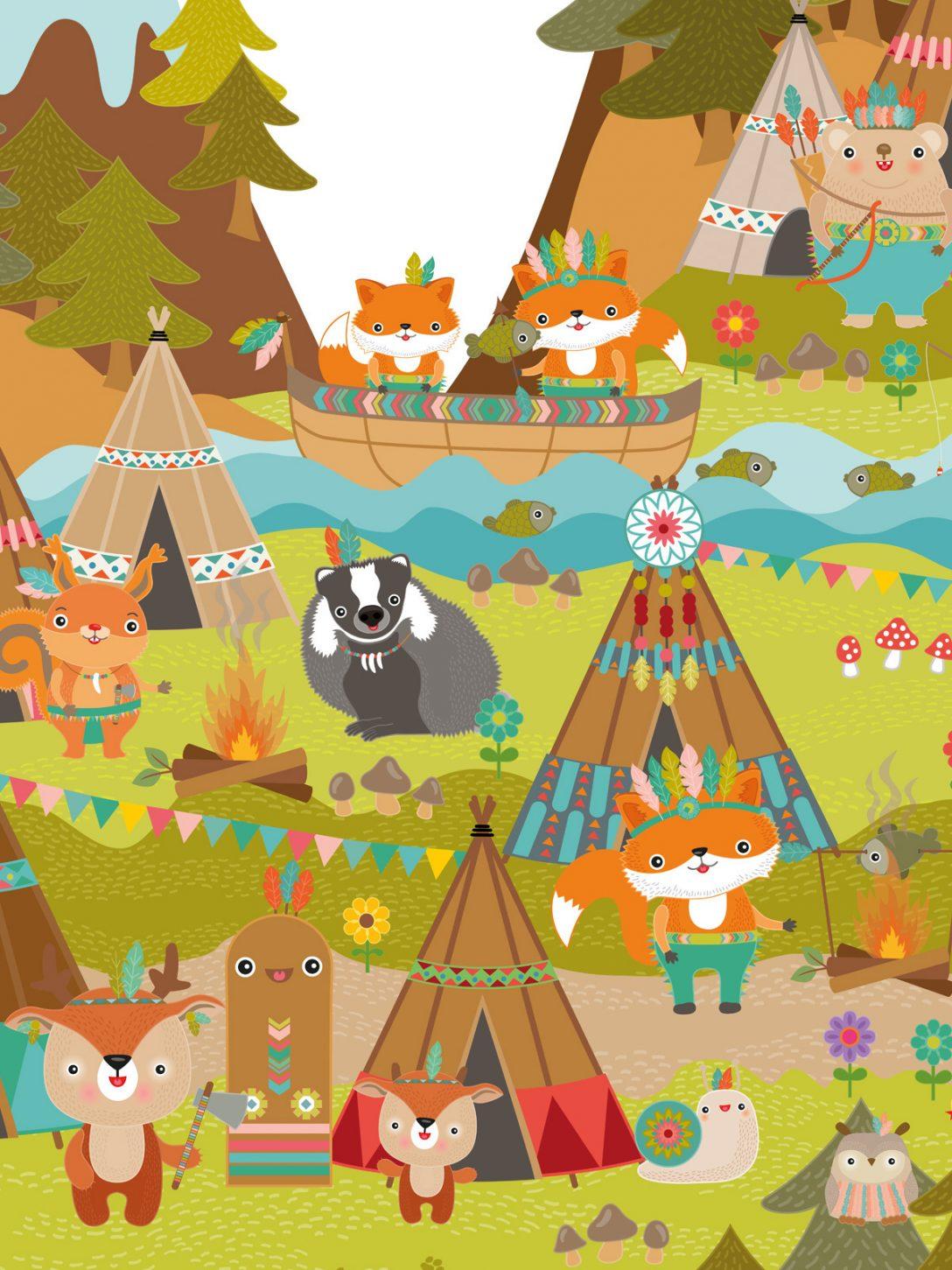 Large Size of Kinderzimmer Tapete Mutige Indianer In Tippis Miyo Mori Fototapete Küche Fenster Tapeten Für Regal Wohnzimmer Regale Modern Ideen Die Schlafzimmer Weiß Sofa Wohnzimmer Kinderzimmer Tapete