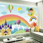 Wandbild Kinderzimmer Kinderzimmer Wandbild Beibehang Custom Tapete Regenbogen Schloss Sofa Regal Wohnzimmer Weiß Regale Schlafzimmer
