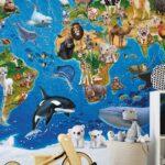 Fototapeten Kinderzimmer Fototapete Animal Club International Weltkarte Wohnzimmer Regal Weiß Sofa Regale Kinderzimmer Fototapeten Kinderzimmer