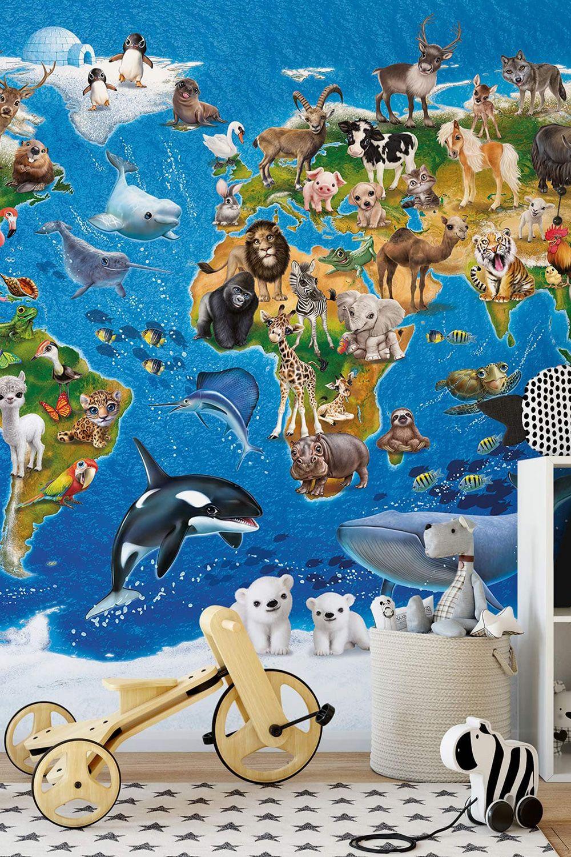 Full Size of Fototapeten Kinderzimmer Fototapete Animal Club International Weltkarte Wohnzimmer Regal Weiß Sofa Regale Kinderzimmer Fototapeten Kinderzimmer