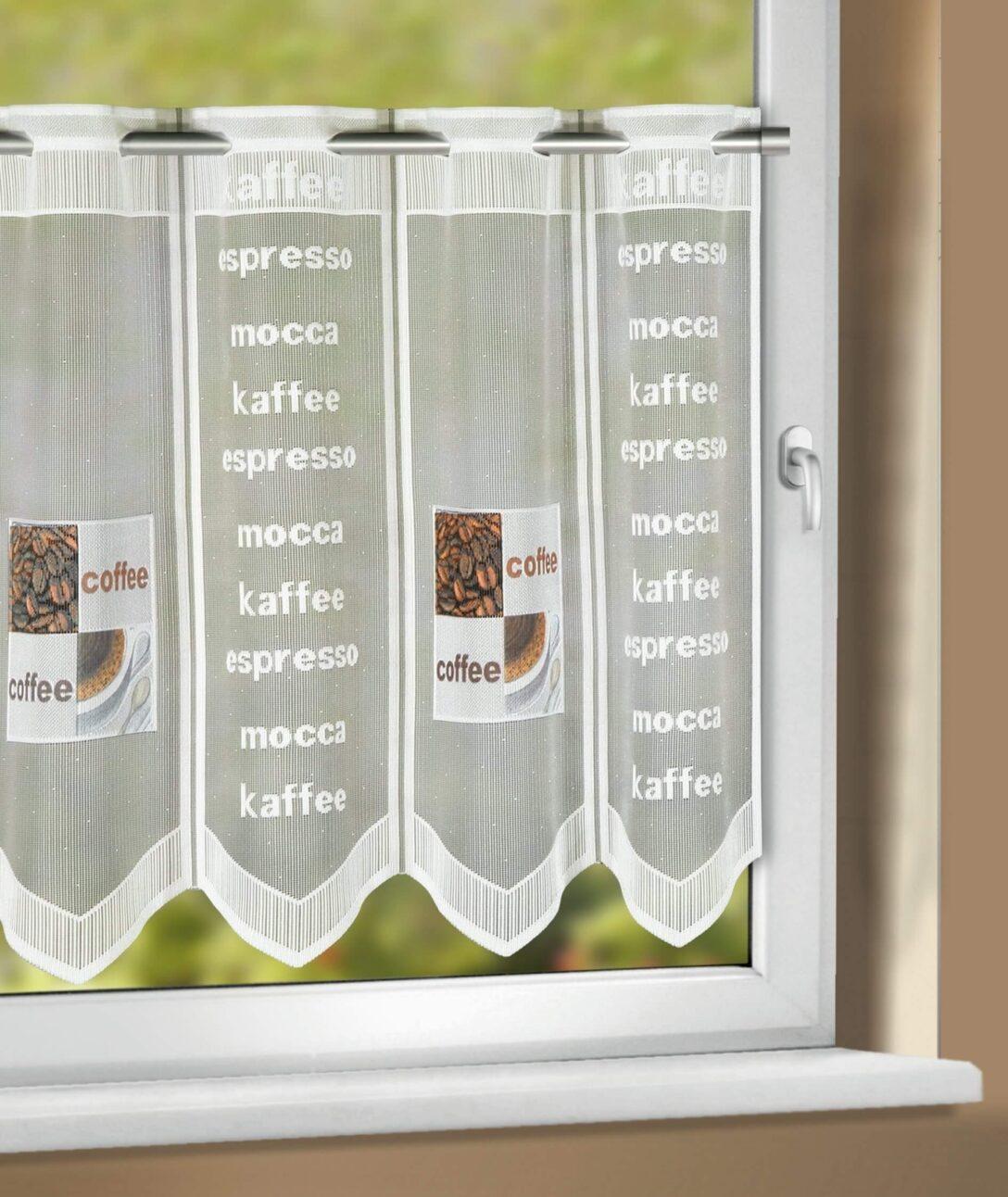 Large Size of Küchengardinen Kchengardine Caf Wei Braun 150 50 Cm Sb Lagerkauf Wohnzimmer Küchengardinen