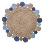 Teppiche Kinderzimmer Kinderzimmer Teppiche Kinderzimmer Bloomingville Jute Teppich Rund Natur Blau 120cm Regale Regal Weiß Wohnzimmer Sofa