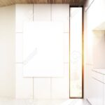 Küchenwand Vertikales Plakat Hngt An Einer Kchenwand Es Gibt Einen Weien Wohnzimmer Küchenwand