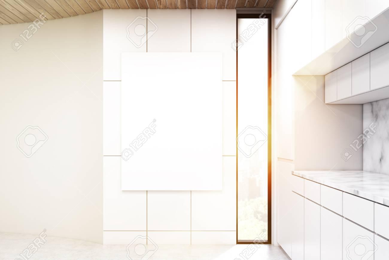 Full Size of Küchenwand Vertikales Plakat Hngt An Einer Kchenwand Es Gibt Einen Weien Wohnzimmer Küchenwand