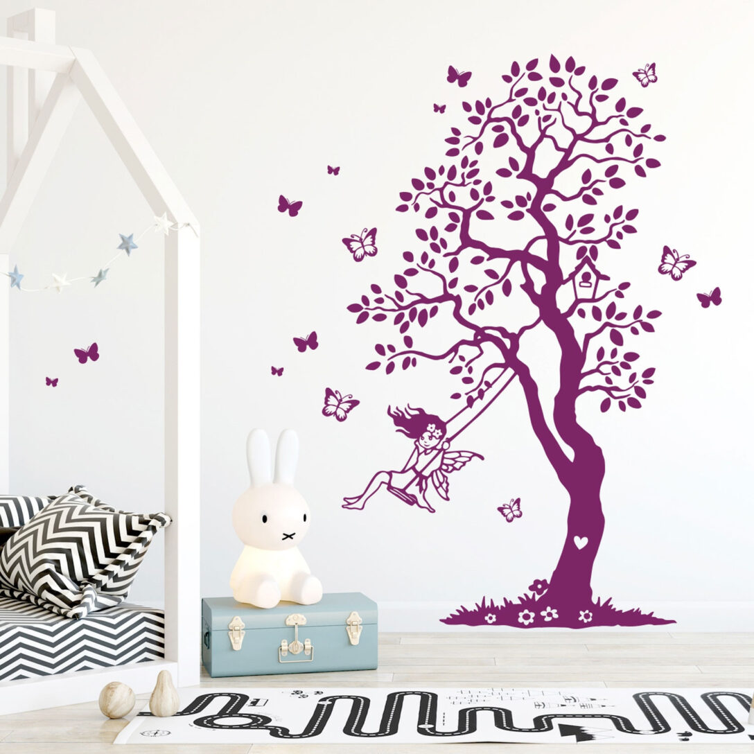 Large Size of Wandtattoo Baum Elfe Fee Auf Schaukel Schmetterlinge Garten Kinderschaukel Für Sofa Kinderzimmer Schaukelstuhl Regal Weiß Regale Kinderzimmer Schaukel Kinderzimmer