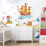 Piraten Kinderzimmer Kinderzimmer Piraten Kinderzimmer Wandtattoo Set Regal Sofa Weiß Regale