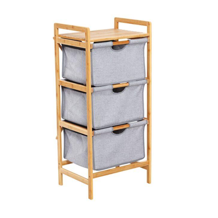Medium Size of Bambus Regal Mit 3 Stoffboxen 96 Cm Bamboo Braun Grau Graues Bett Regale Aus Europaletten Schulte Modular Landhaus Weiß Schlafzimmer Schmal Usm Haller Regal Graues Regal