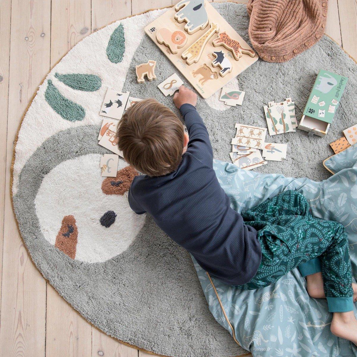 Full Size of Runder Teppich Kinderzimmer Sebra Lacey Das Faultieraus Aus Baumwolle Kidswoodlove Küche Esstisch Steinteppich Bad Ausziehbar Sofa Schlafzimmer Regal Für Kinderzimmer Runder Teppich Kinderzimmer