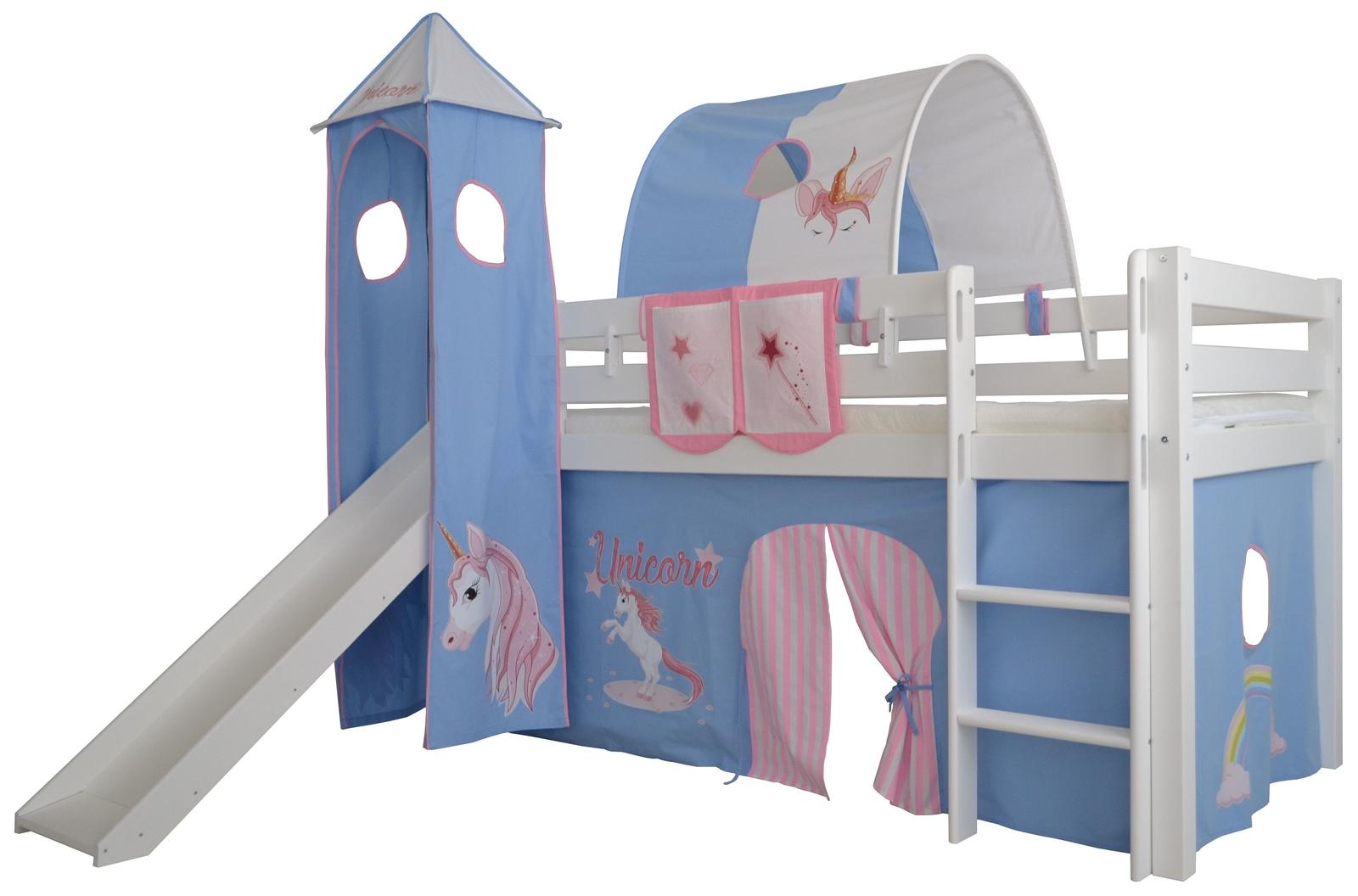 Full Size of Kinderzimmer Hochbett Halbhohes Einhorn Massivholz Mit Leiter Und Regal Weiß Regale Sofa Kinderzimmer Kinderzimmer Hochbett
