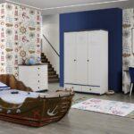 Piraten Kinderzimmer Kinderzimmer Kinderzimmer Set Marine Captain Pirates Mit Schiff Bett Regal Sofa Regale Weiß