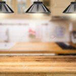 Holztheke Mit 3d Hngelampen Kche Hintergrund Wohnzimmer Hängelampen