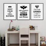 Kinderzimmer Jungen Kinderzimmer Junge Jungen Einrichten Komplett Set Superheld Batman Kunstdrucke Poster Schwarz Wei Typografie Zitate Regal Sofa Regale Weiß