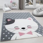 Kinderzimmer Teppiche Kinderzimmer Kinderzimmer Teppiche Kinderteppich Teppich Katze Sternmotiv Grau Wei Pink Regale Sofa Wohnzimmer Regal Weiß