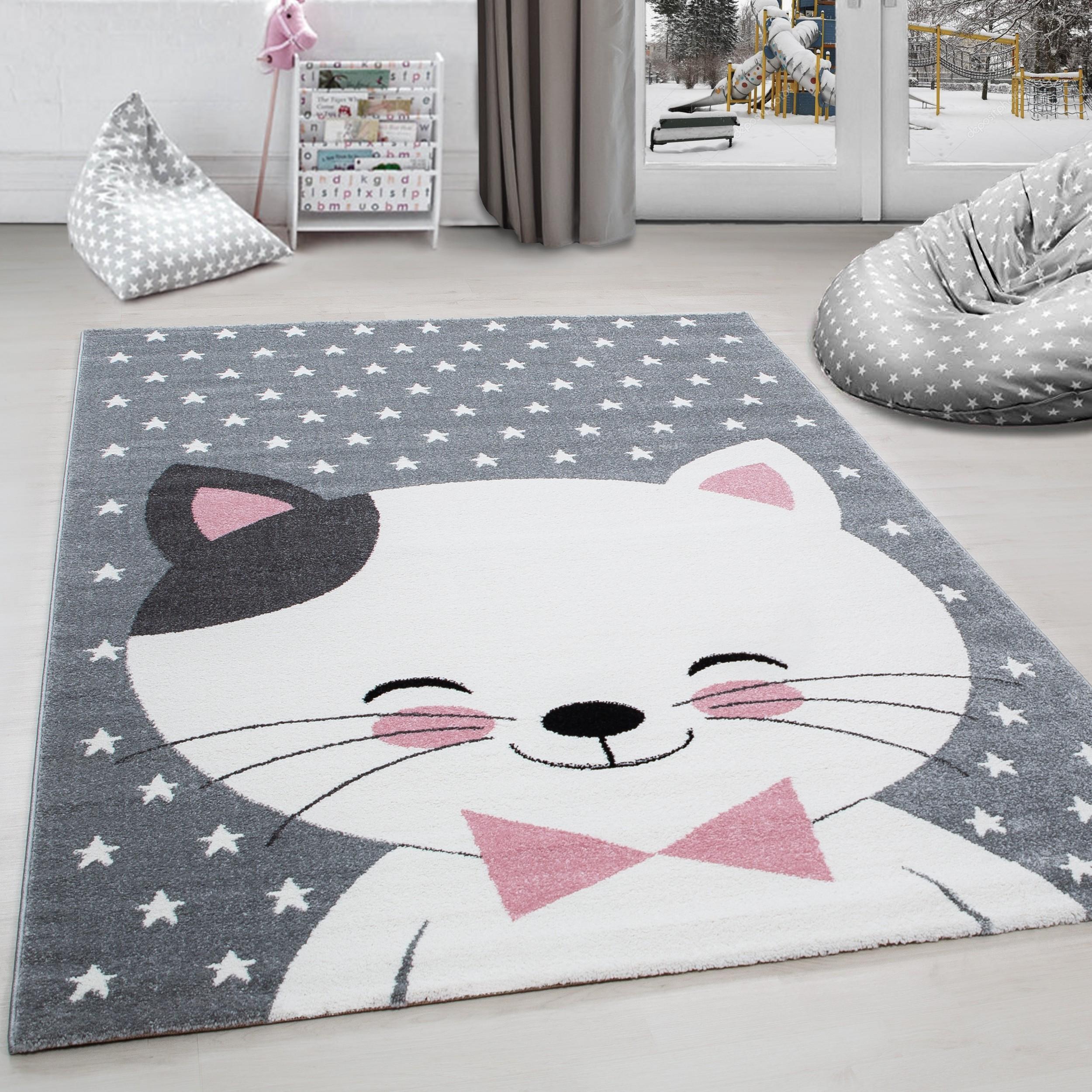 Full Size of Kinderzimmer Teppiche Kinderteppich Teppich Katze Sternmotiv Grau Wei Pink Regale Sofa Wohnzimmer Regal Weiß Kinderzimmer Kinderzimmer Teppiche