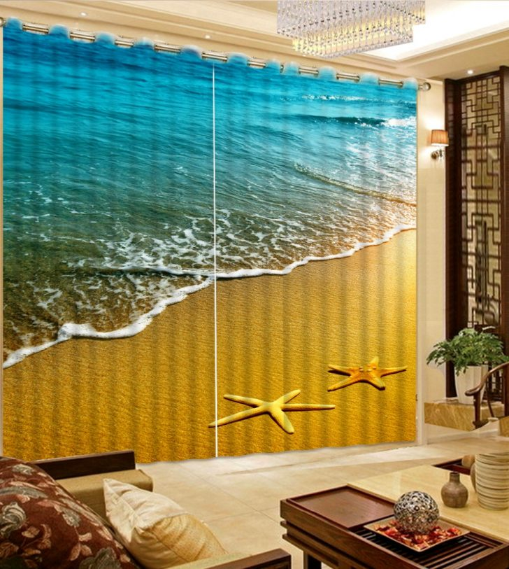 Medium Size of Gardinen Foto 3d Starfish Strand Vorhang Stoff Wohnzimmer Für Teppiche Led Beleuchtung Hängeschrank Teppich Liege Lampen Vorhänge Board Wohnwand Sessel Wohnzimmer Moderne Gardinen Wohnzimmer