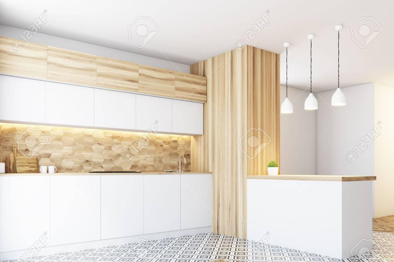 Full Size of Küchenwand Hexagon Muster Kchenwand Mit Weien Arbeitsplatten Wohnzimmer Küchenwand