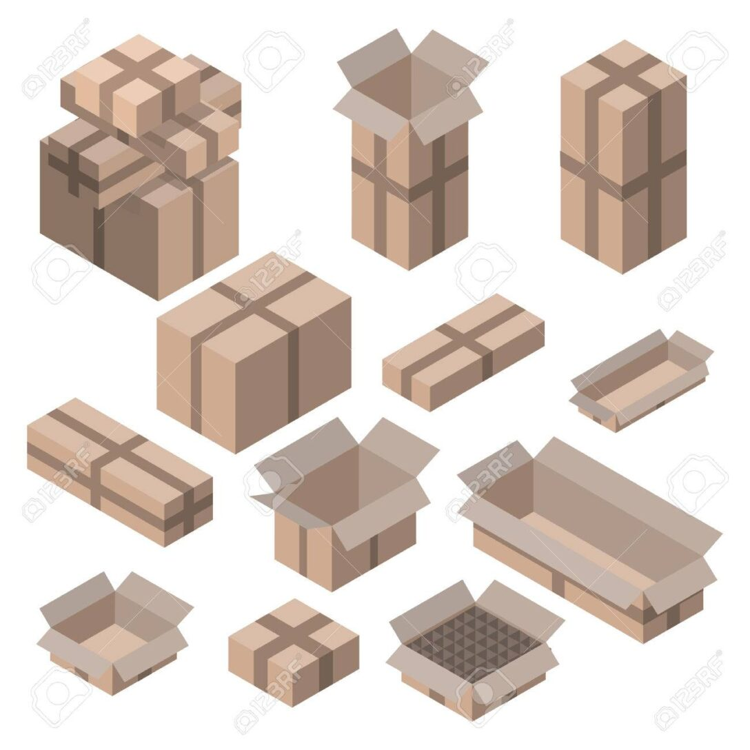 Large Size of Set Isometrische Kartons Auf Wei Isoliert Vektor Boxen Und Holz Alu Fenster Kleine Regale String Obi Regal Naturholz Weiß Meta Roller Modulküche Sichtschutz Regal Regale Holz