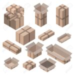 Set Isometrische Kartons Auf Wei Isoliert Vektor Boxen Und Holz Alu Fenster Kleine Regale String Obi Regal Naturholz Weiß Meta Roller Modulküche Sichtschutz Regal Regale Holz