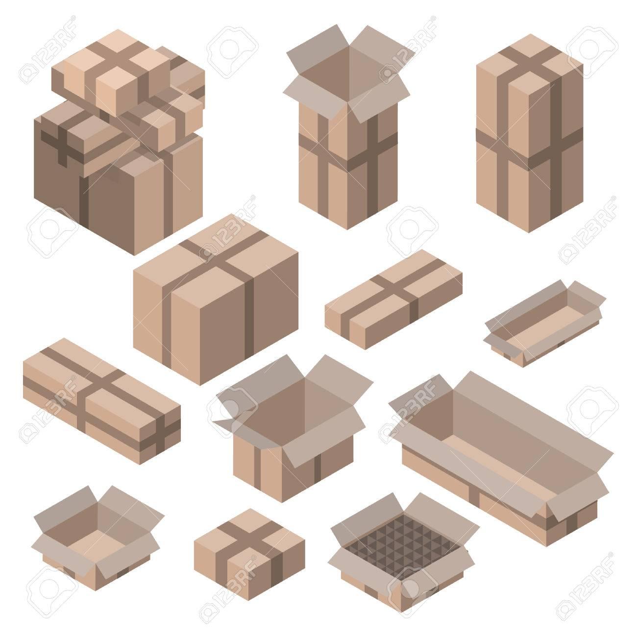 Full Size of Set Isometrische Kartons Auf Wei Isoliert Vektor Boxen Und Holz Alu Fenster Kleine Regale String Obi Regal Naturholz Weiß Meta Roller Modulküche Sichtschutz Regal Regale Holz
