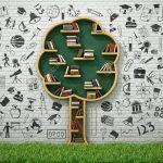 Bücherregal Baum Wohnzimmer Bcherregal In Form Von Baum Und Zeichnung Konzept Mit Gras Bett Nussbaum 180x200 Esstisch Baumkante Regal