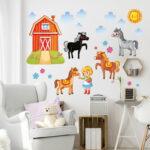 Kinderzimmer Pferd Kinderzimmer Kinderzimmer Pferd Wandtattoo Bauernhof Set Mit Pferden Regale Regal Sofa Weiß