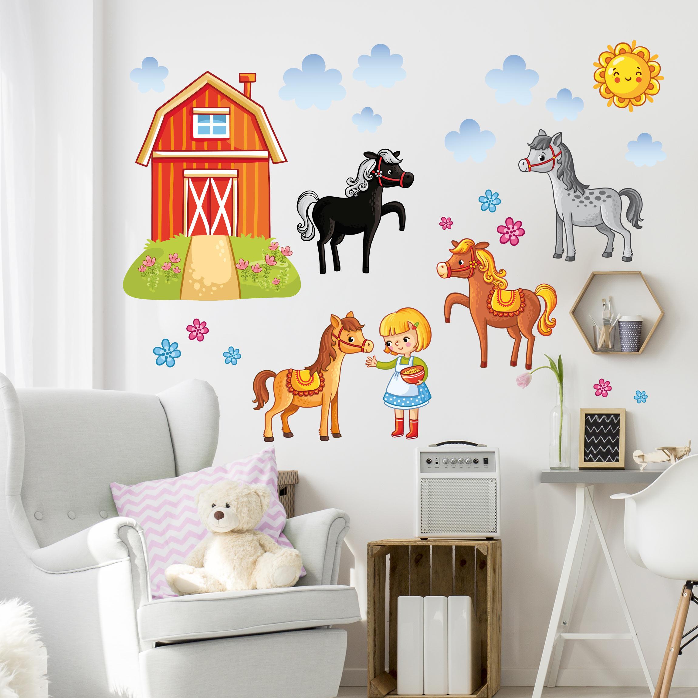 Full Size of Kinderzimmer Pferd Wandtattoo Bauernhof Set Mit Pferden Regale Regal Sofa Weiß Kinderzimmer Kinderzimmer Pferd