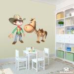 Kinderzimmer Pferd Kinderzimmer Kinderzimmer Pferd Wandtattoo Cowboy Und Sein Regal Regale Sofa Weiß