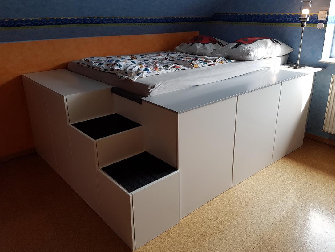 Large Size of Bett Mit Viel Stauraum Ikea Diy 140x200 Selber Bauen 180x200 120x200 Aus Kchenschrnken Homematic Integration Smart Wohnen Bettkasten Schwarz Weiß Breit Wohnzimmer Bett Mit Stauraum Ikea