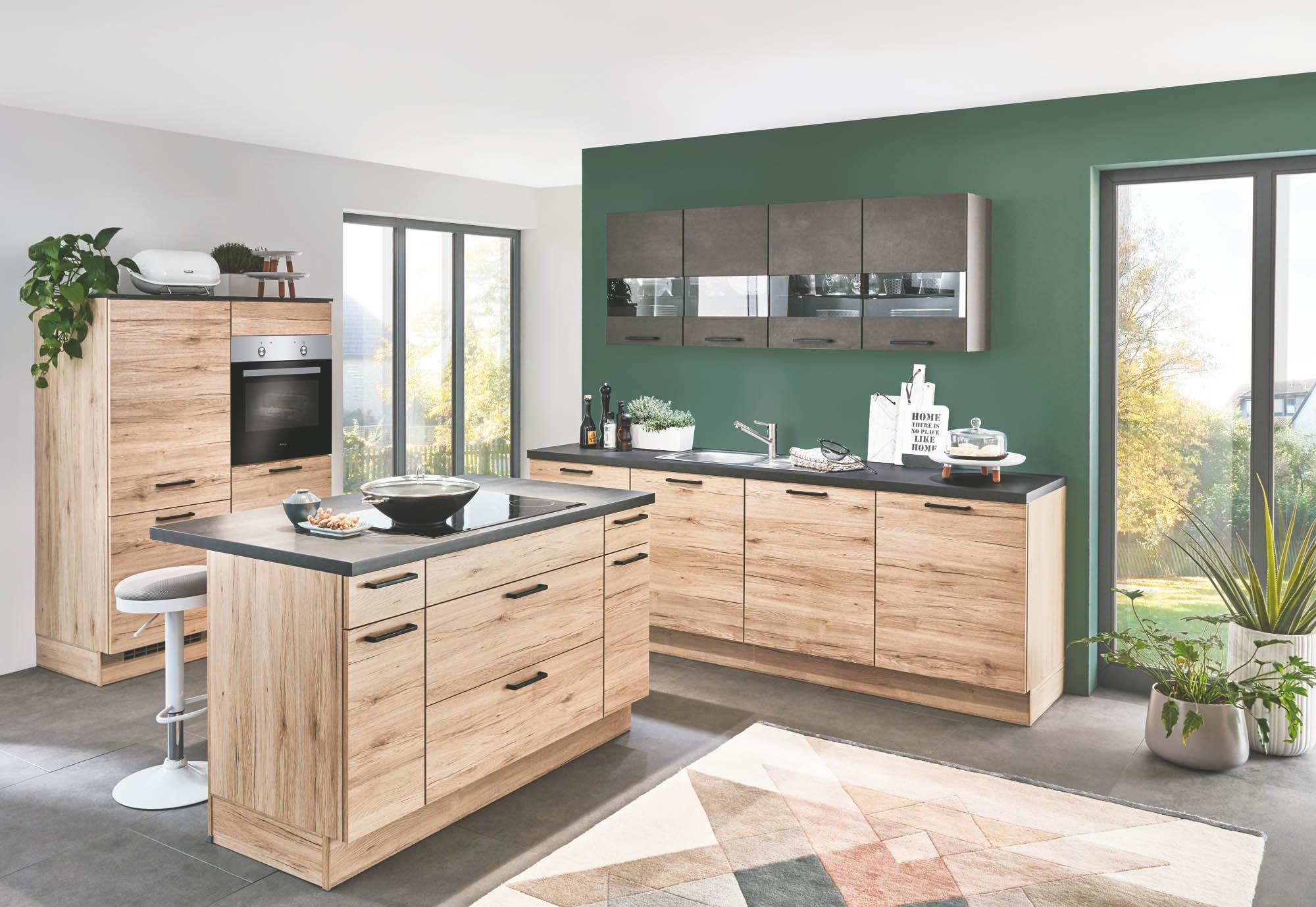 Full Size of Eichenholz Kche Mit Schwarzbeton Elementen Zeitloses Design Küchen Regal Wohnzimmer Küchen