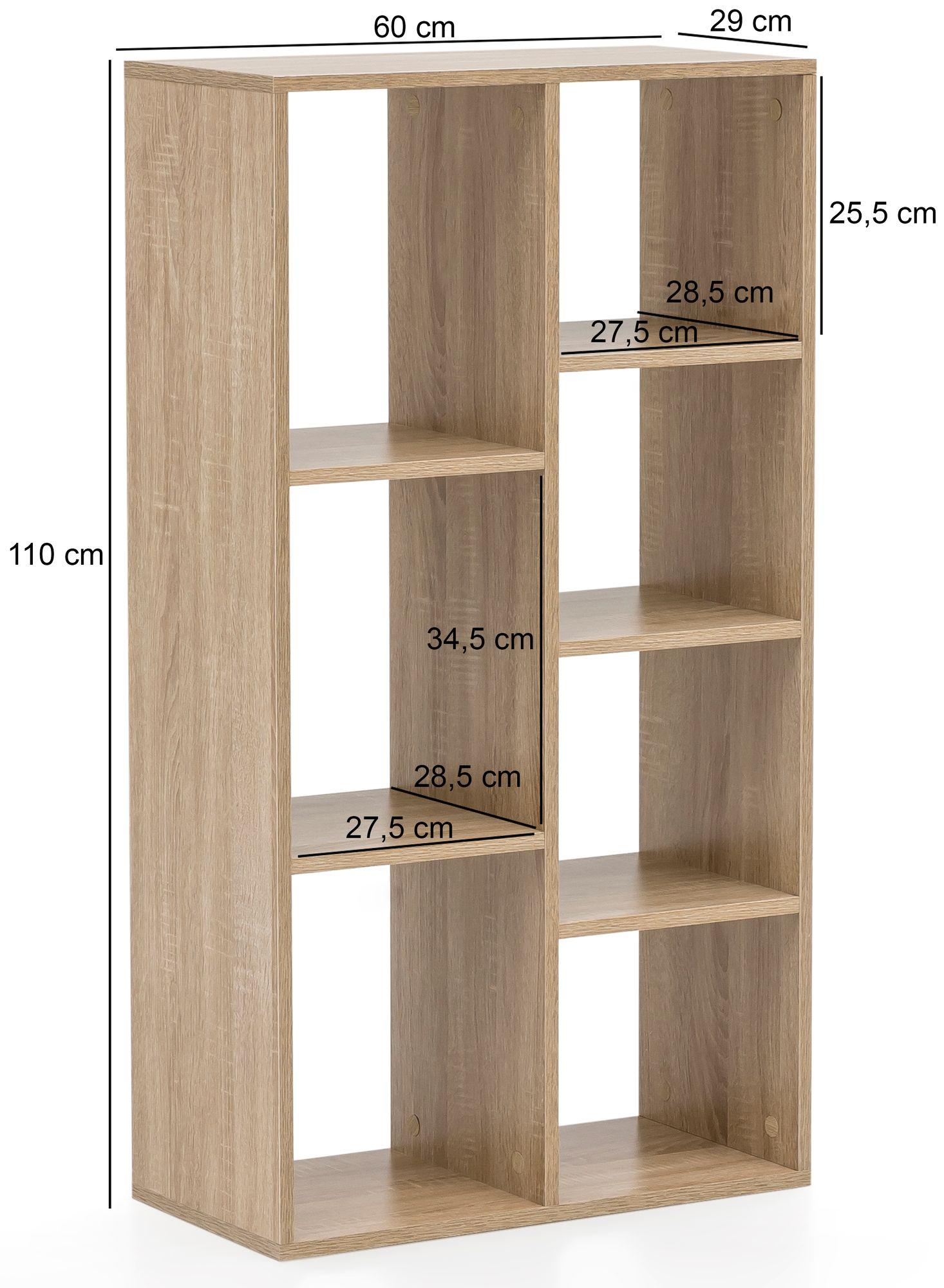 Full Size of Regal Hoch Wohnling Bcherregal Wl5907 Sonoma 60x110x29cm Standregal 7 Für Getränkekisten Schuh Glasböden Tv Regale Weiß Hochschrank Küche Kleiderschrank Regal Regal Hoch