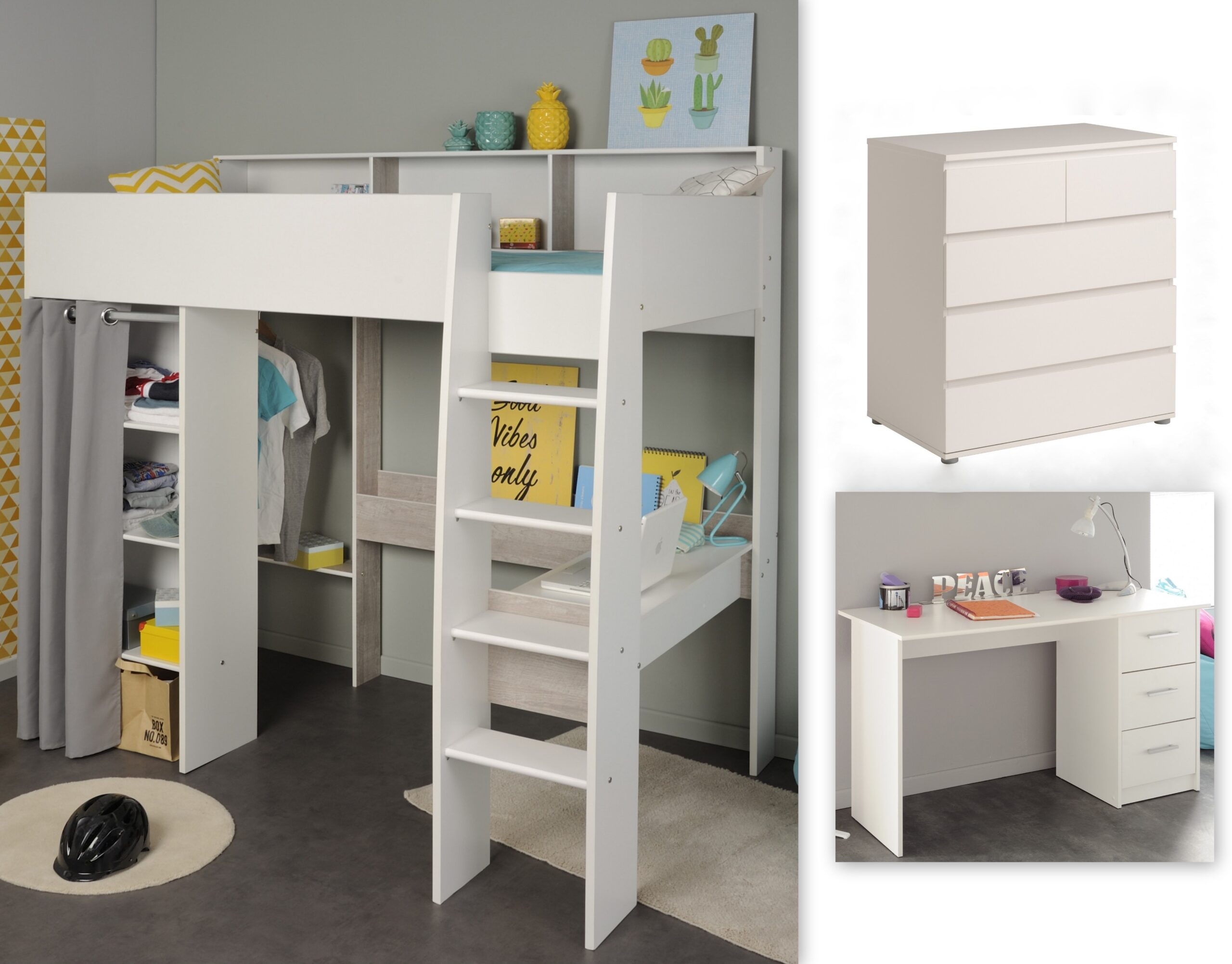 Full Size of Kinderzimmer Set 3 Tlg Inkl 90x200 Hochbett Regale Regal Weiß Sofa Kinderzimmer Hochbetten Kinderzimmer