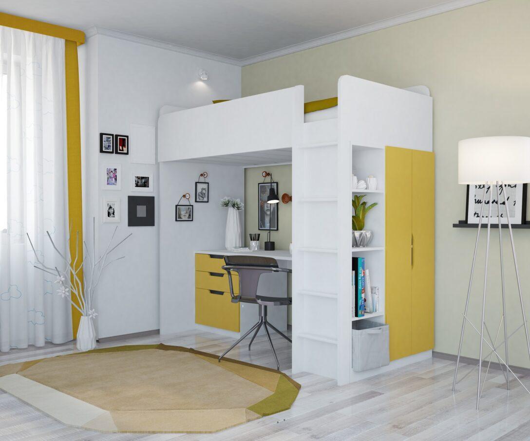 Large Size of Hochbetten Kinderzimmer Polini Home Hochbett Mit Kleiderchrank Regal Und Weiß Sofa Regale Kinderzimmer Hochbetten Kinderzimmer