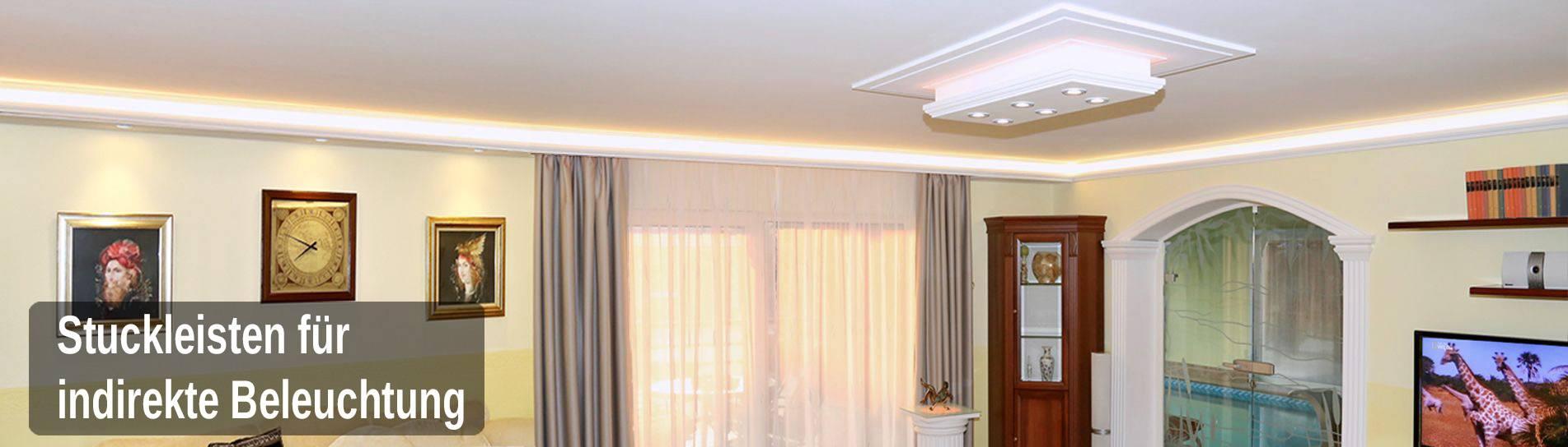 Full Size of Wohnzimmer Indirekte Beleuchtung Stuckleisten Aus Styropor Im Onlineshop Des Herstellers Bad Led Vitrine Weiß Deckenlampe Sofa Kleines Tapete Deko Gardinen Wohnzimmer Wohnzimmer Indirekte Beleuchtung