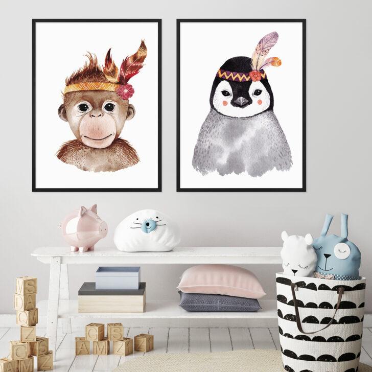 Medium Size of 2er Set Kinderzimmer Poster No20 30x40 Cm Pinguin Aquarell Affe Regal Weiß Moderne Bilder Fürs Wohnzimmer Sofa Regale Großes Bild Modern Wandbild Glasbilder Kinderzimmer Bild Kinderzimmer