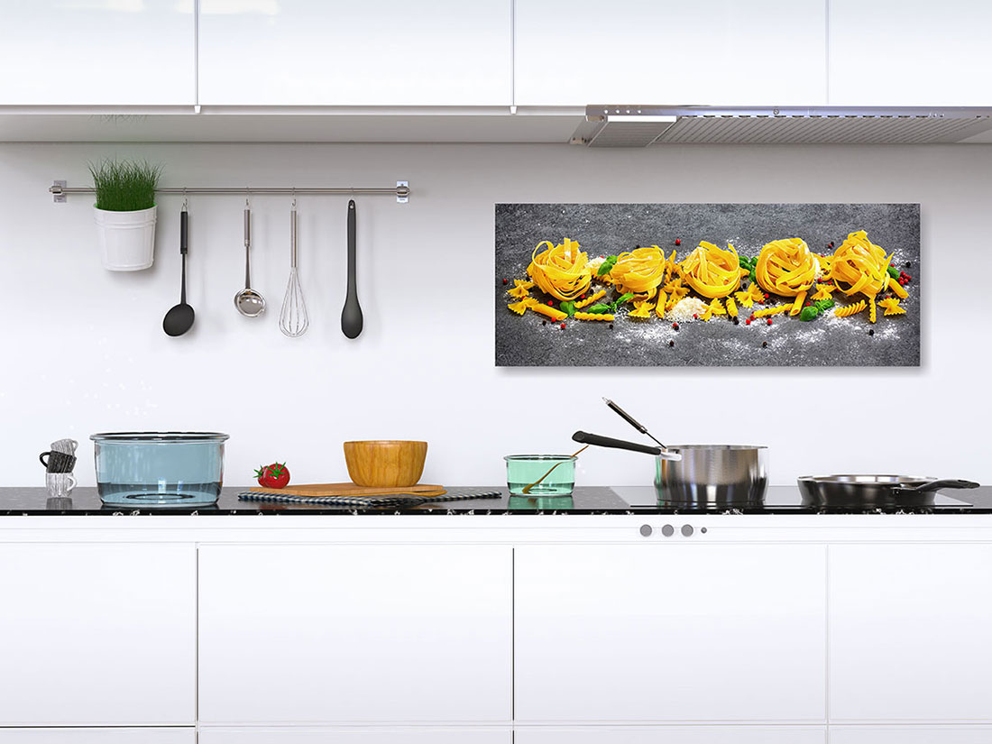 Full Size of Küche Wanddeko Levandeo Glasbild 30x80cm Wandbild Glas Pasta Nudeln Kche Deko Mit E Geräten Günstig Kleine Einbauküche Massivholzküche Tapete Modern Wohnzimmer Küche Wanddeko