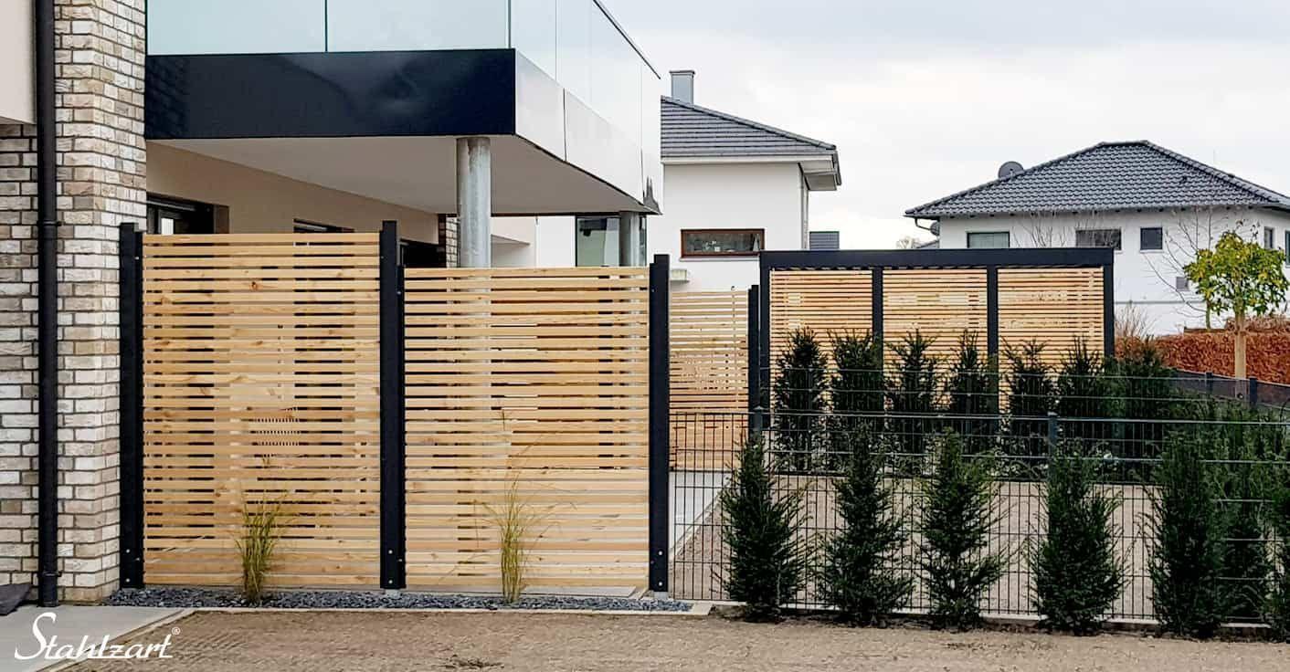 Full Size of Sichtschutz Zaun Holz Lrche Metall Anthrazit Modern Stahlzart Garten Modernes Bett Loungemöbel Holztisch Sichtschutzfolie Fenster Einseitig Durchsichtig Wohnzimmer Sichtschutz Holz Modern