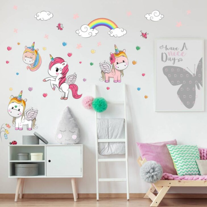Medium Size of Kinderzimmer Wanddeko 086 Wandtattoo Einhorn Regenbogen Deko Regale Sofa Regal Weiß Küche Kinderzimmer Kinderzimmer Wanddeko