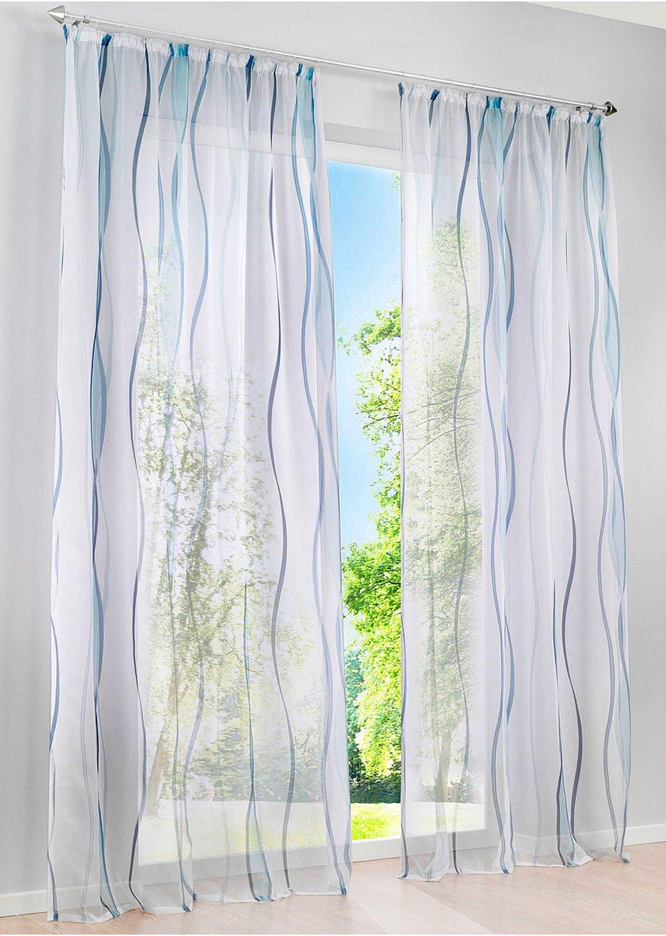Full Size of Transparente Gardine In Zeitlosem Design Wei Blau Gardinen Schlafzimmer Scheibengardinen Küche Für Wohnzimmer Bonprix Betten Die Fenster Wohnzimmer Bonprix Gardinen