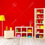 Kinderzimmer Bücherregal Kinderzimmer Mit Bcherregalen Spielzeug Auf Roten Wand Regal Regale Sofa Weiß