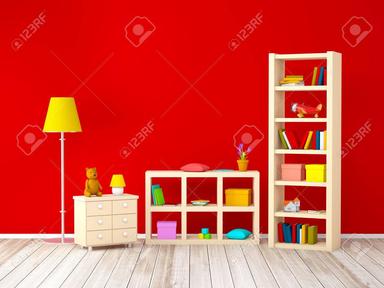 Full Size of Mit Bcherregalen Spielzeug Auf Roten Wand Regal Regale Sofa Weiß Kinderzimmer Kinderzimmer Bücherregal
