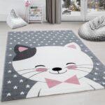 Teppiche Kinderzimmer Kinderzimmer Teppiche Kinderzimmer Kinderteppich Teppich Katze Sternmotiv Grau Wei Pink Regal Regale Wohnzimmer Sofa Weiß