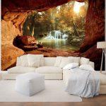 Details Zu Fototapete Wasserfall Tapeten Wandbilder 3d Wald Fels Wohnzimmer Ideen Fototapeten Für Küche Die Schlafzimmer Wohnzimmer 3d Tapeten