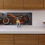 Küche Wanddeko Levandeo Glasbild 30x80cm Wandbild Glas Kaffee Gewrze Kche Deko Hochglanz Weiss Betonoptik Abfallbehälter Kochinsel Einbauküche Mit E Wohnzimmer Küche Wanddeko