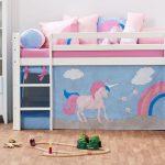 Kinderbett Mädchen Halbhohes In Kiefer Wei Z B Mit Rutsche Einhorn Betten Bett Wohnzimmer Kinderbett Mädchen