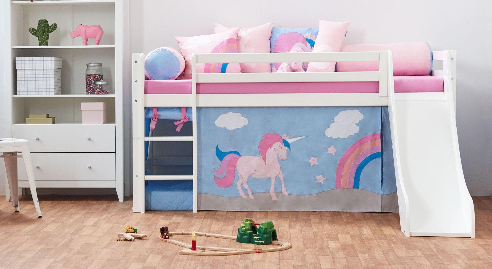Full Size of Kinderbett Mädchen Halbhohes In Kiefer Wei Z B Mit Rutsche Einhorn Betten Bett Wohnzimmer Kinderbett Mädchen