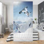 Raumteiler Kinderzimmer Kinderzimmer Raumteiler Kinderzimmer Fliegender Snowboarder 250x120cm Sofa Regal Regale Weiß