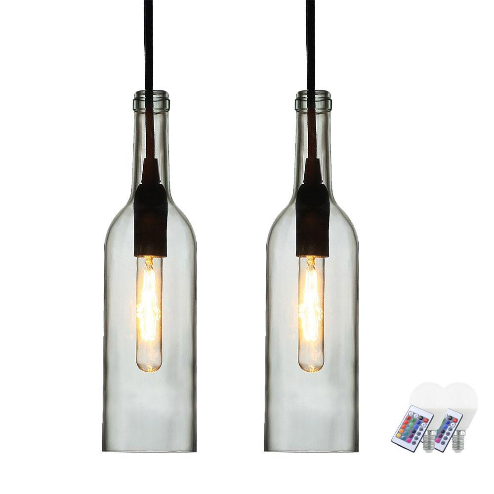 Full Size of Hängelampen 2er Set Rgb Led Flaschen Hngelampen Aus Klarem Glas Vt 7558 Etc Wohnzimmer Hängelampen