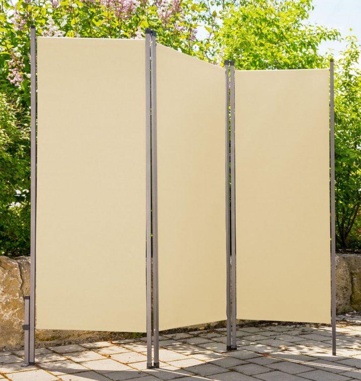 Paravent Terrasse Outdoor Creme Beige Metall Stoff Sichtschutz Windschutz Garten Wohnzimmer Paravent Terrasse
