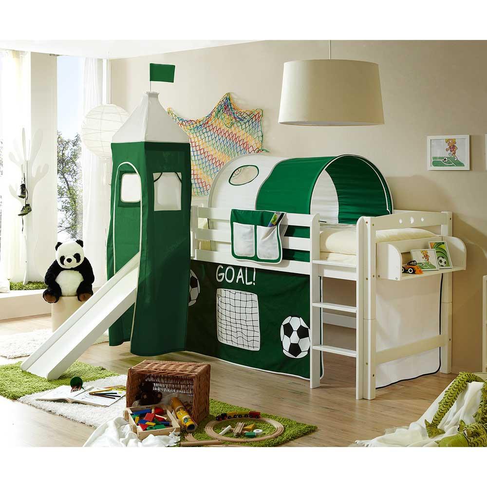 Full Size of Kinderzimmer Hochbett Rutsche Aus Buche In Wei Mit Fuball Motiv Grn Regale Regal Weiß Sofa Kinderzimmer Kinderzimmer Hochbett